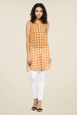 109 F Orange Checks Tunic