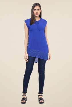 109 F Blue Self Print Tunic
