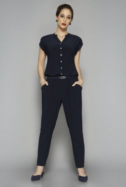 Wardrobe by Westside Navy Solid Bethany Jumpsuit