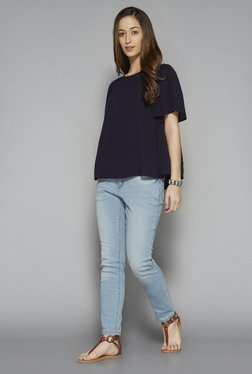 LOV by Westside Navy Solid Jojo Blouse
