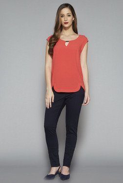 Wardrobe by Westside Coral Solid Pat Blouse
