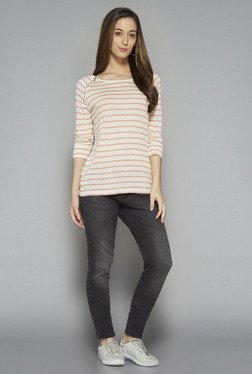 LOV by Westside Beige Striped Melissa T Shirt