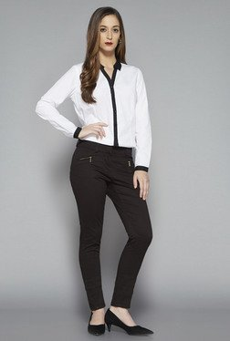 Wardrobe by Westside White Solid Rita Blouse