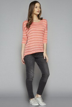 LOV by Westside Coral Striped Rivka T Shirt
