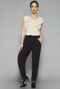 Wardrobe by Westside Beige Solid Camella Blouse
