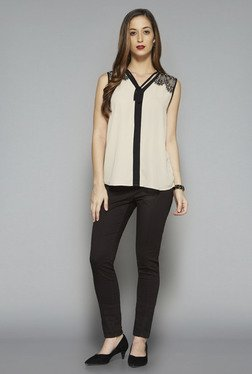 Wardrobe by Westside Beige Solid Audrey Blouse