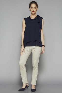 Wardrobe by Westside Navy Solid Aspen Blouse