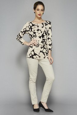 Wardrobe by Westside Beige Printed Amore Blouse