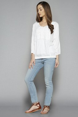 LOV by Westside White Solid Stella Blouse