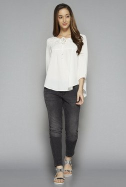 LOV by Westside White Lace Leora Blouse