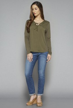 LOV by Westside Olive Solid Chrisy Top