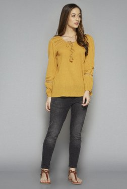 LOV by Westside Yellow Lace Maddoni Blouse