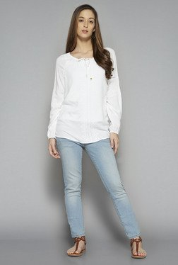 LOV by Westside White Solid Alanah Blouse