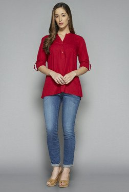 LOV by Westside Red Solid Phoebe Blouse