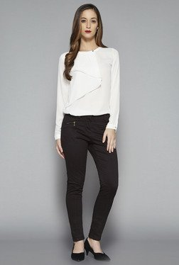 Wardrobe By Westside Off White Solid Flowy Blouse