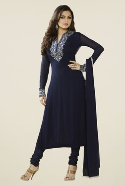 Touch Trends Navy Georgette Embroidered Dress Material