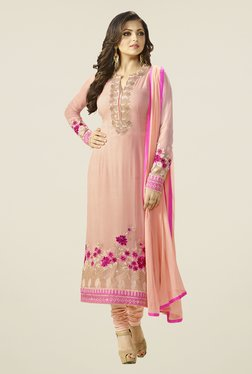 Touch Trends Peach Georgette Embroidered Dress Material