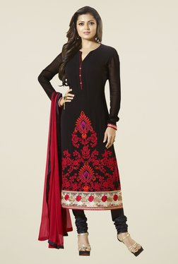Touch Trends Black Georgette Embroidered Dress Material