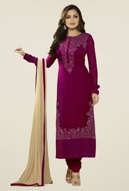 Touch Trends Maroon Georgette Embroidered Dress Material