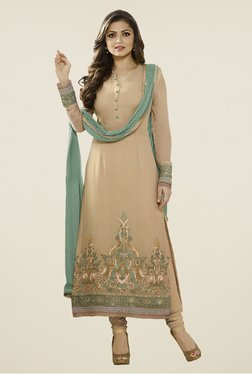 Touch Trends Beige Georgette Embroidered Dress Material
