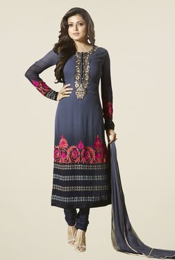 Touch Trends Blue Georgette Embroidered Dress Material