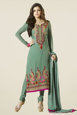 Touch Trends Olive Georgette Embroidered Dress Material