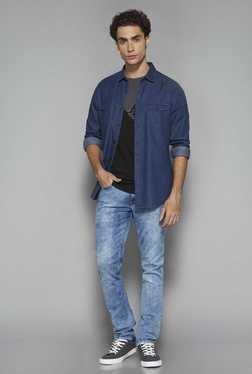 Nuon By Westside Dark Blue Slim Fit Denim Shirt