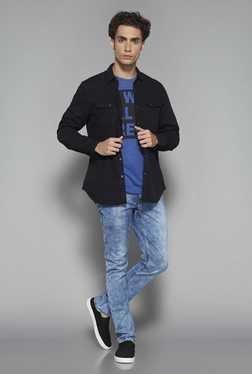 Nuon By Westside Black Slim Fit Denim Shirt