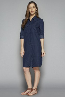 LOV by Westside Blue Solid Dale Dress