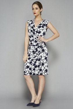 Wardrobe by Westside Navy Printed Hailey Dress