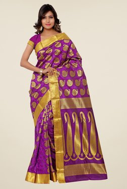 Janasya Purple & Gold Paisley Print Kanchipuram Silk Saree