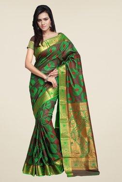 Janasya Green & Maroon Printed Silk Kanchipuram Resham Saree