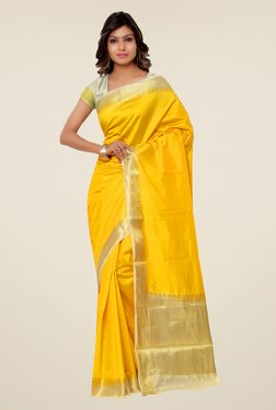 Janasya Yellow Solid Kanjivaram Raw Silk Saree