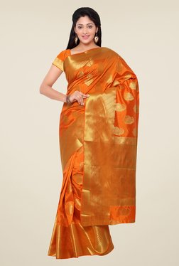 Janasya Orange Paisley Print Kanchipuram Art Silk Saree