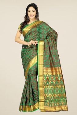 Janasya Brown & Green Floral Print Art Silk Emboss Saree