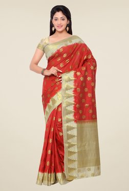 Janasya Red Printed Kanchipuram Art Silk Saree