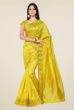 Janasya Yellow Floral Print Kanchipuram Art Silk Saree
