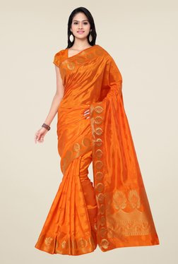 Janasya Orange Floral Print Kanchipuram Art Silk Saree