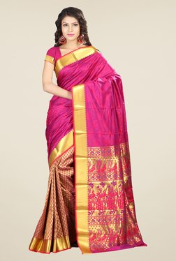 Janasya Gold & Pink Printed Paithani Art Silk Saree