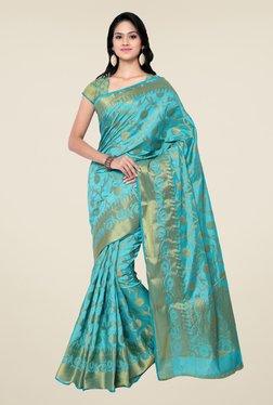 Janasya Blue Floral Print Kanchipuram Tussar Silk Saree