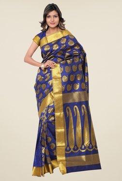 Janasya Blue Paisley Print Silk Saree