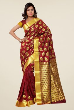 Janasya Maroon Printed Kanchipuram Art Silk Saree