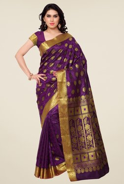 Janasya Purple Floral Print Kanchipuram Art Silk Saree