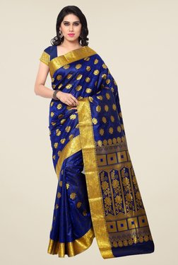 Janasya Dark Blue Floral Print Kanchipuram Art Silk Saree