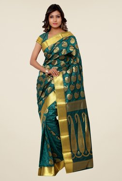 Janasya Teal Paisley Print Kanchipuram Art Silk Saree