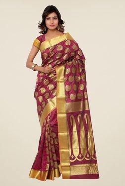 Janasya Magenta Paisley Print Kanchipuram Art Silk Saree
