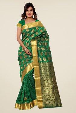 Janasya Green Printed Kanchipuram Silk Saree