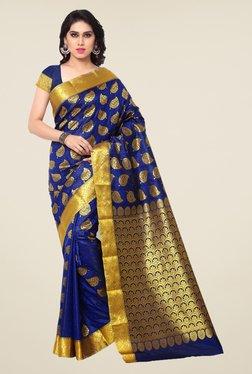 Janasya Dark Blue Printed Silk Saree