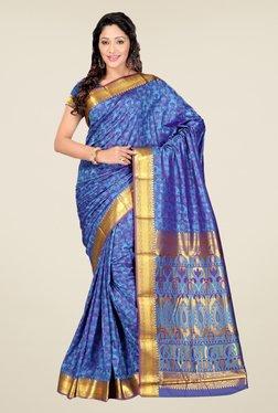 Janasya Blue Floral Print Art Silk Zari Pallu Emboss Saree