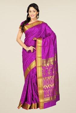 Janasya Purple Floral Print Art Silk Emboss Saree
